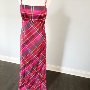 Red, Pink, Purple Plaid Long Formal Gown 12